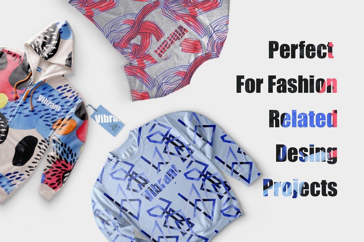 几何纹理水彩装饰图案纹理下载Vibrant Watercolor Patterns插图(1)