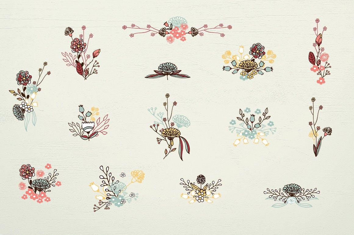 服装文艺印刷用品花纹素材模板下载Washed Colors Flowers插图(4)