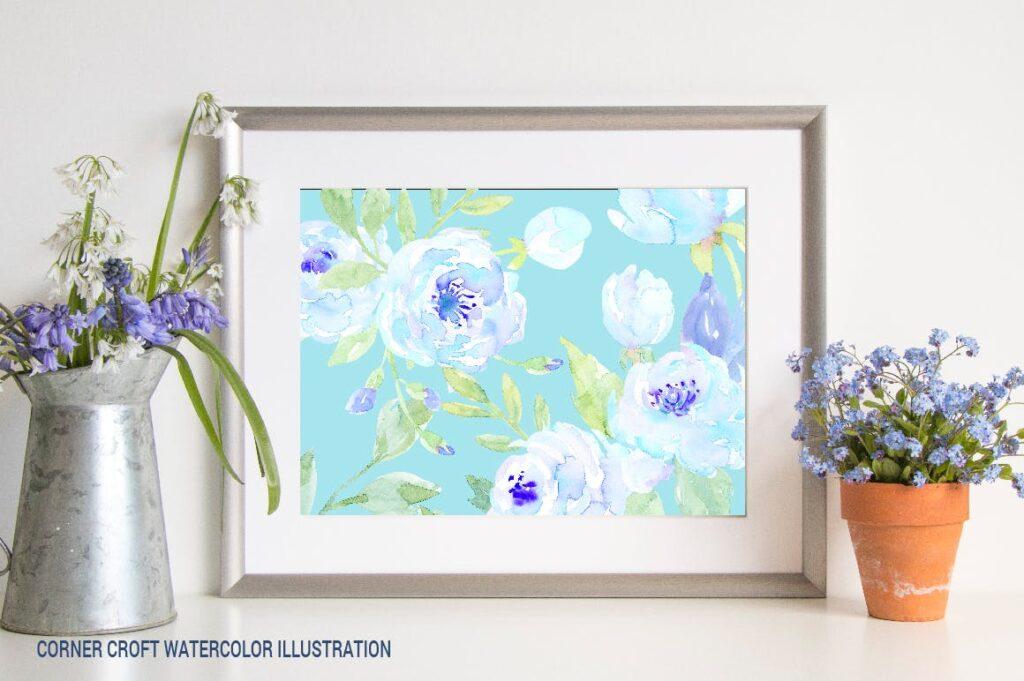 蓝色牡丹水彩图案纹理图案下载Watercolor Blue Peony Collection插图(4)