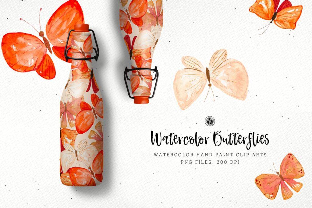 水彩画蝴蝶手绘花卉水彩画剪辑艺术品牌包装装饰图案Watercolor Butterflies插图(4)