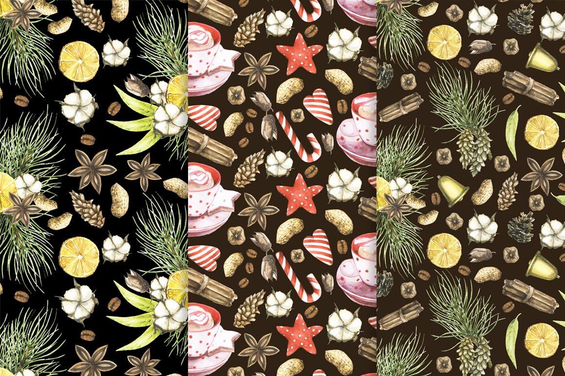 松果/松枝/鹿角森林系列手绘图案纹理元素下载Watercolor Christmas Magic Patterns插图(4)