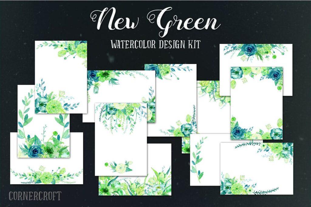 手绘水彩设计工具包全新企业品牌装饰图案花纹Watercolor Design Kit New Green插图(4)