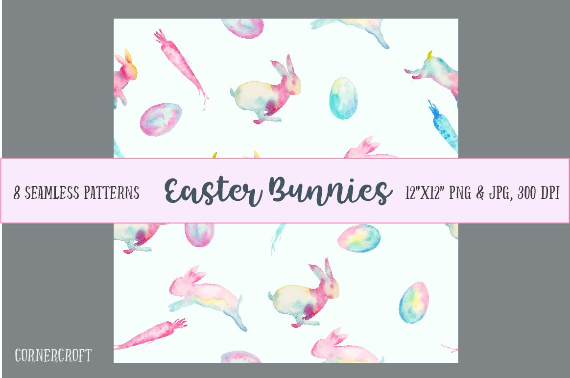 手绘水彩画复活节元素兔子水彩装饰图案Watercolor Easter Bunnies Design Kit插图(4)