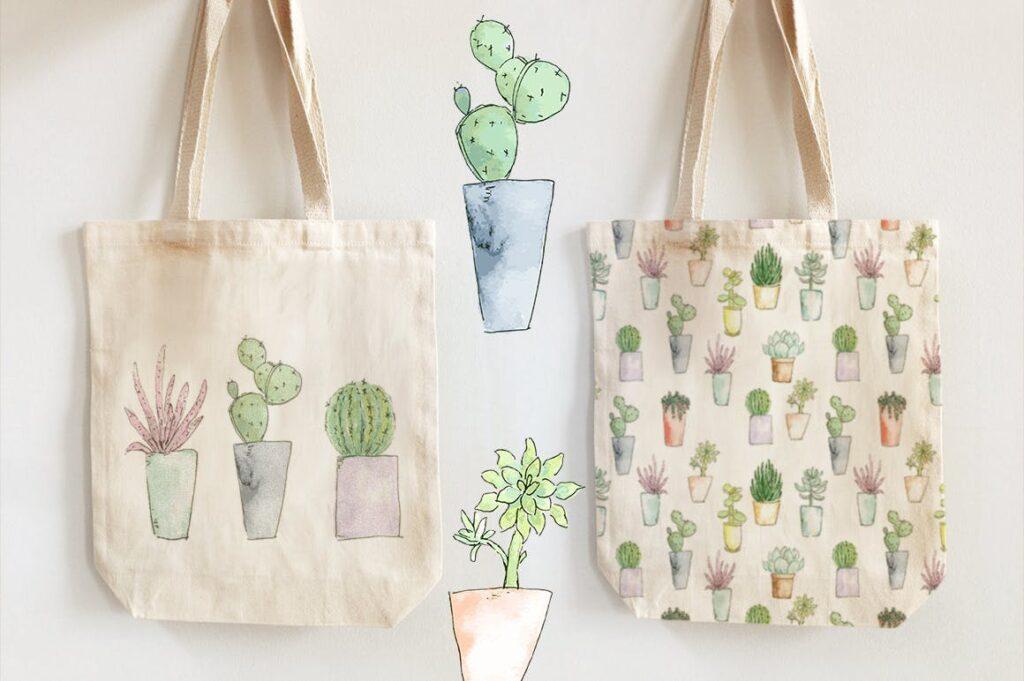 水彩手绘仙人掌多角度图案布艺手提袋装饰图案Watercolor Funky Cactus Vector插图(4)