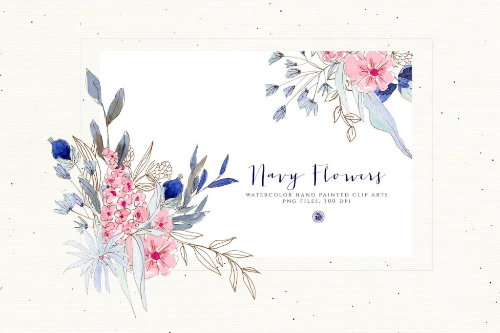 海军水彩手绘画花卉剪贴画装饰图案Watercolor Navy Flowers插图(4)