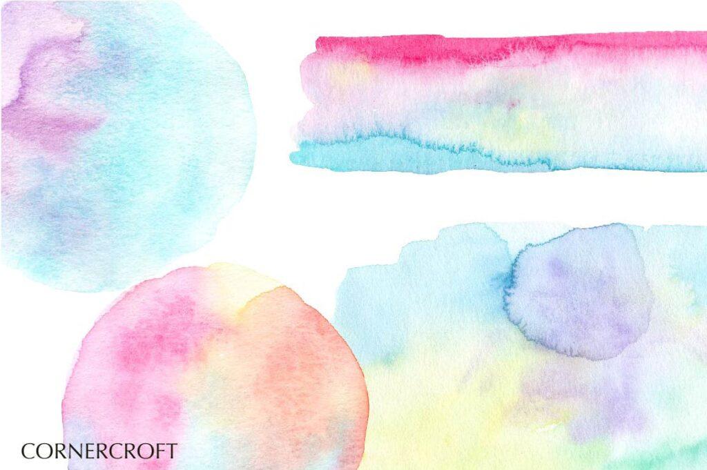 水彩笔触渐变纹理材质装饰Watercolor Texture Soft Pastel插图(4)