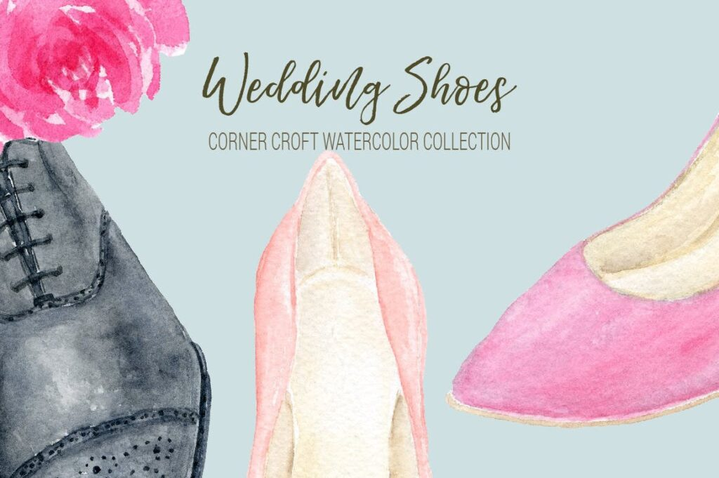 水彩婚纱鞋系列/婚纱鞋剪贴画装饰图案Watercolor Wedding Shoes Collection插图(4)
