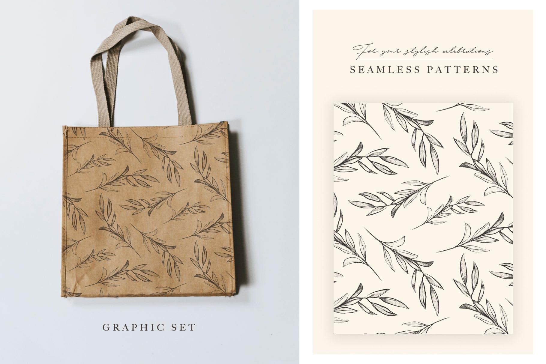 优秀的石墨仿铅笔图形组图案花纹素材Wedding Graphic Logo Pencil Flower插图(4)