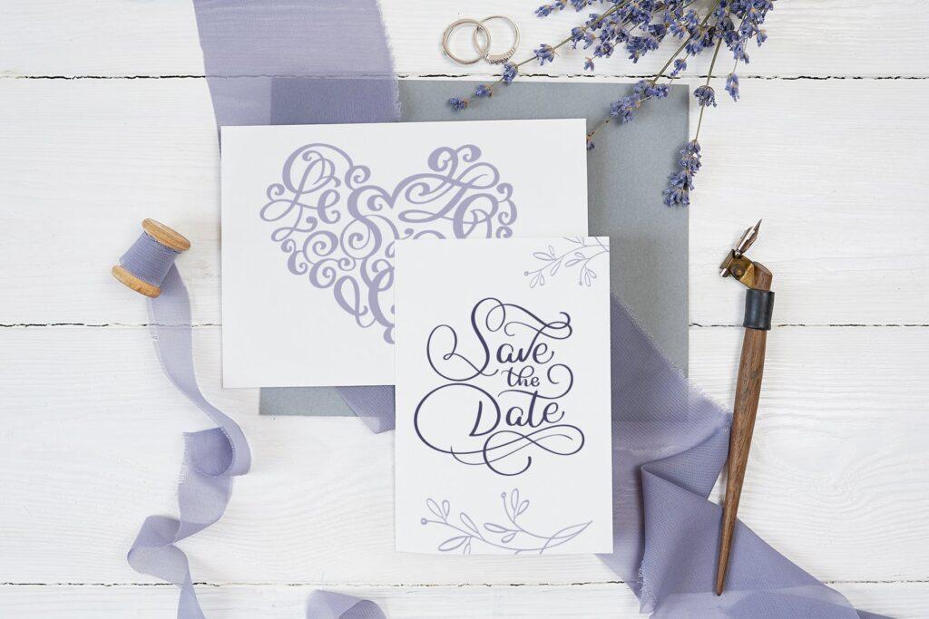简单和经典婚礼邀请函主题装饰图案Wedding Vector Calligraphy插图(4)