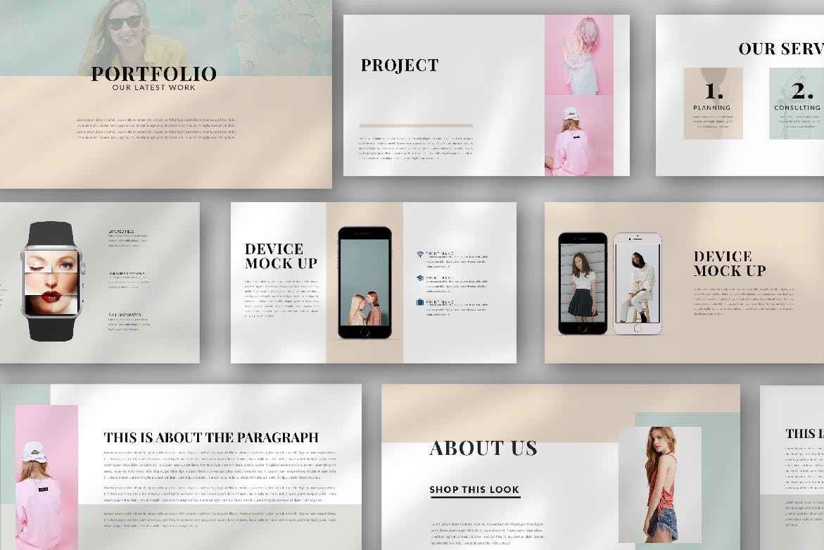 时尚潮流品牌新品展示PPT幻灯片模板lentitude Fashion Keynote插图(3)