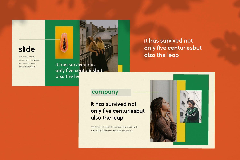 创意版式对比色风格多用途PPT幻灯片模板sunflowers keynote插图(4)