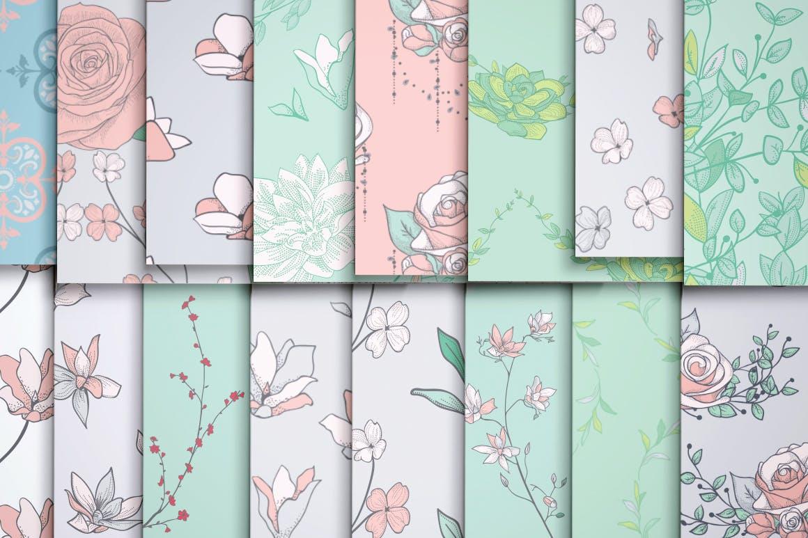 绿色植物与草药轮廓矢量图案31 Floral Patterns Pack插图(5)