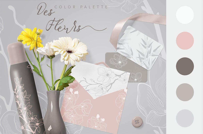 35个植物矢量图案装饰展示效果35 Patterns 8 Instagram Templates插图(4)