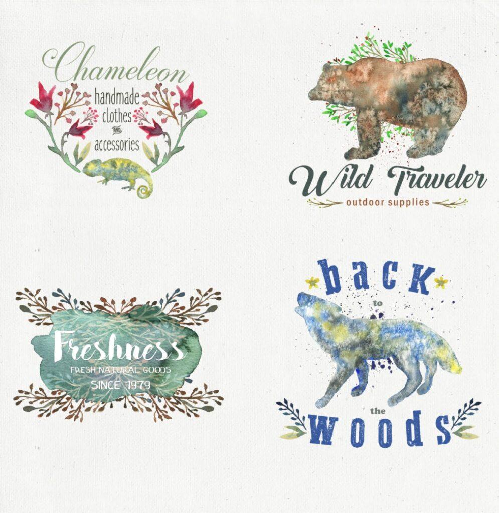 45个水彩画动物剪影的合集Animal Zone插图(4)