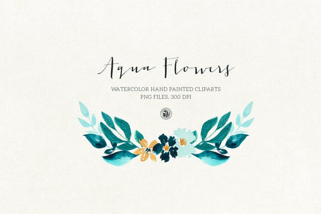 蓝色水彩花卉创意图案设计Blue floral design插图(6)