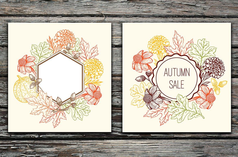手绘矢量复古风格秋季设计元素装饰图案下载Autumn Colors Vintage Design Kit插图(5)