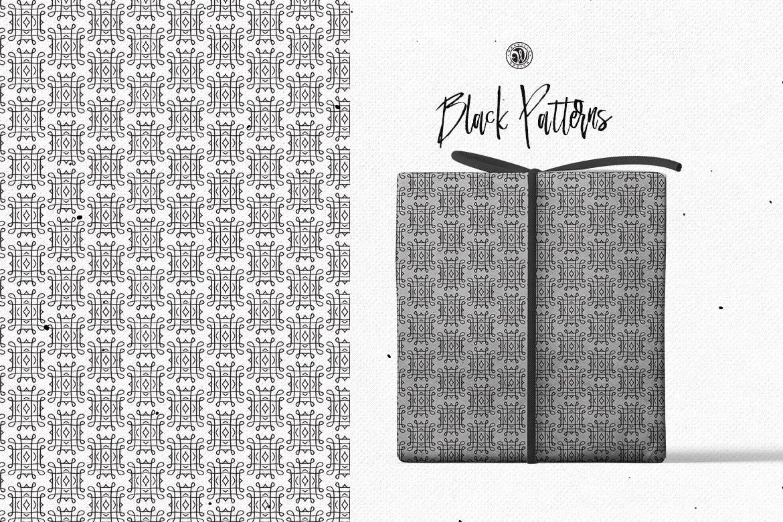 食品包装品牌装饰图案素材下载Black Patterns插图(4)