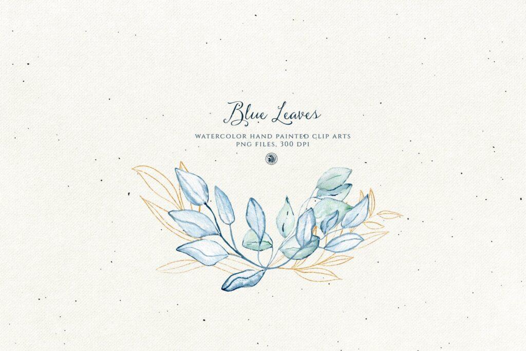 蓝色叶子手绘水彩装饰图案下载Blue Leaves with gold accent插图(4)