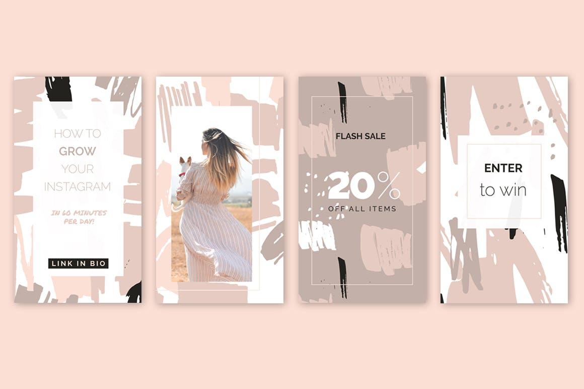 腮红粉红色系列装饰图案花纹素材Blush Crush Patterns Instagram Templates插图(5)