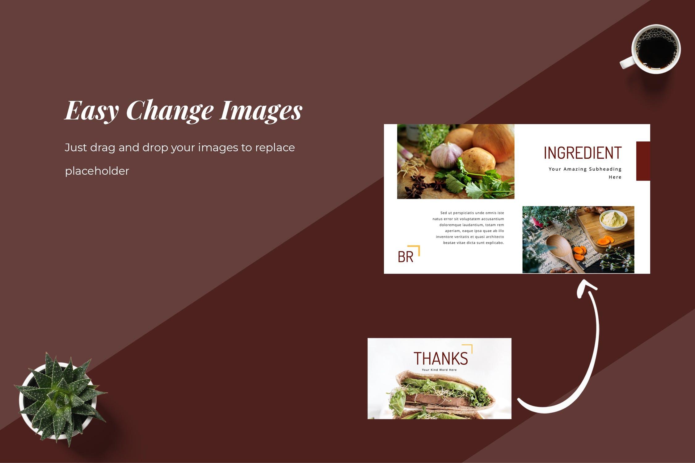 早餐-食物美食类展示模板Breakfa Food Powerpoint Presentation插图(5)