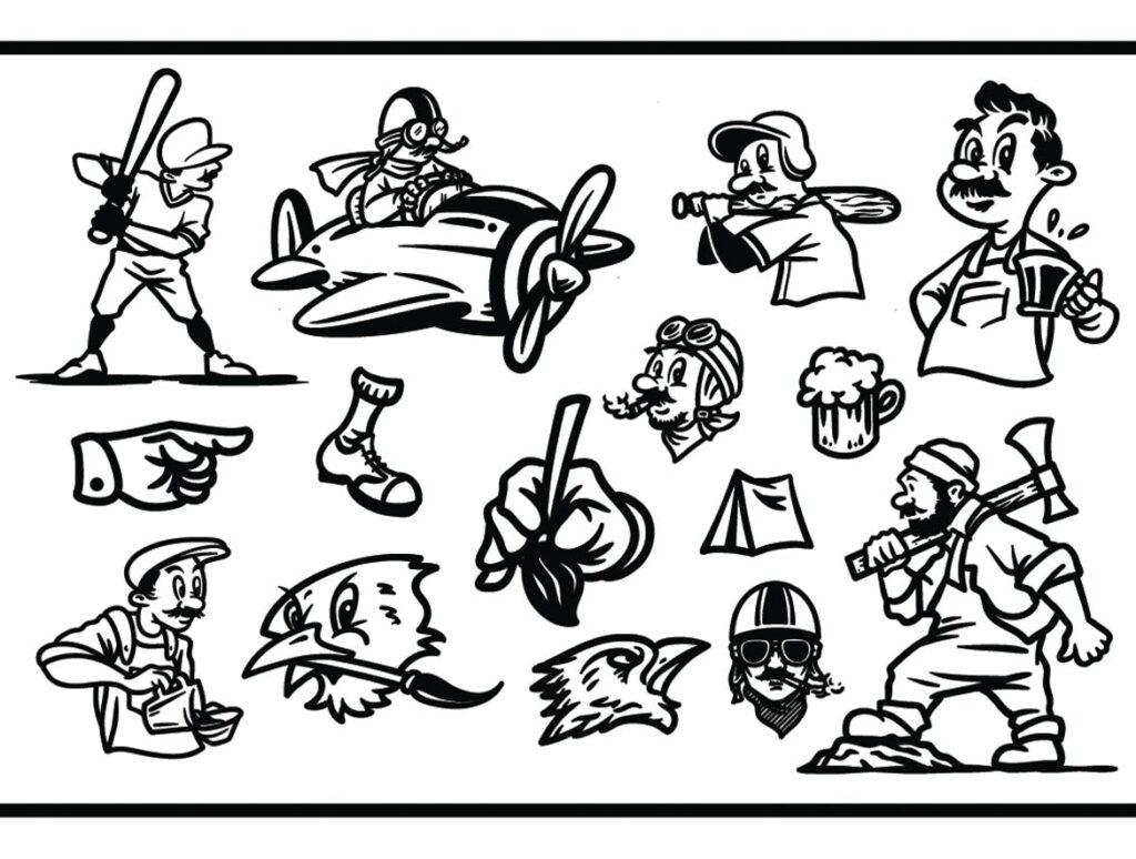 15个卡通复古插画相框装饰画Cartoon Vintage Illustration插图(5)