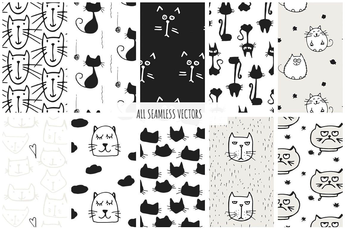 40个矢量猫图案素材展示效果Cats Patterns Set of 40插图(4)