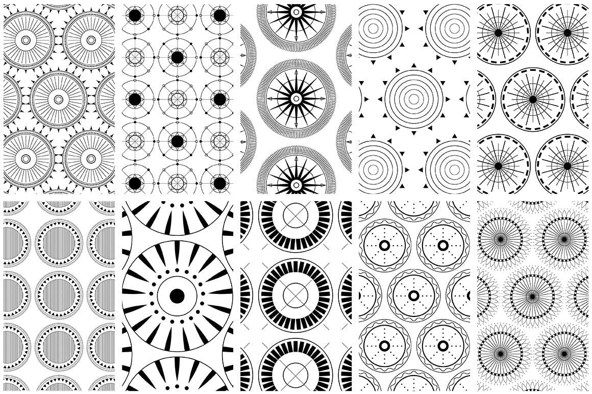 全新优雅的40个圆形无缝矢量图案食品包装装饰图案Circular Patterns Set插图(5)