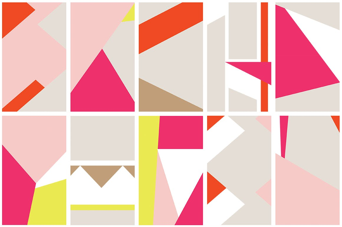几何饱满色彩图形组合无缝图案组合Color Blocking Patterns插图(5)