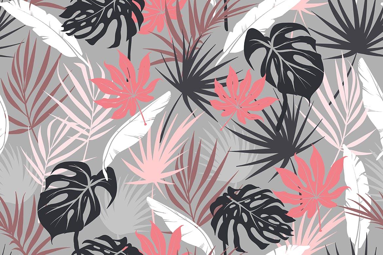 抽象概念植物天堂花装饰图案(大合集)Colorful Tropical Foliar Seamless Patterns插图(4)