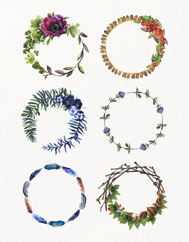 花卉/树叶/羽毛水彩元素装饰图案Enchanted Watercolor Kit插图(5)