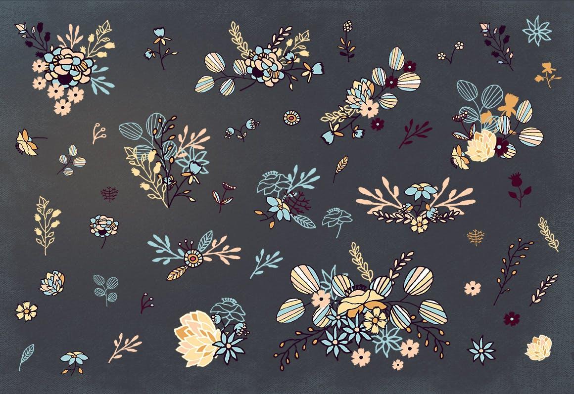 品牌花卉图案婚礼请柬服装类装饰图案Floral Cliparts插图(4)