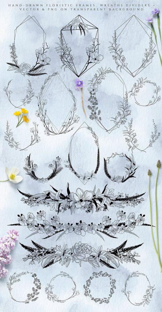 非常优雅的暮光之花系列花体字母组合Floral Monograms Elements插图(5)