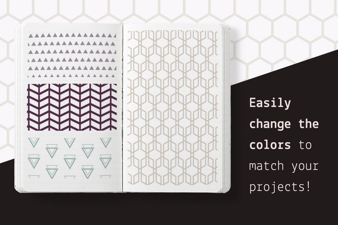 企业品牌几何图形多场景应用素材Geometric Seamless Patterns Bundle插图(5)