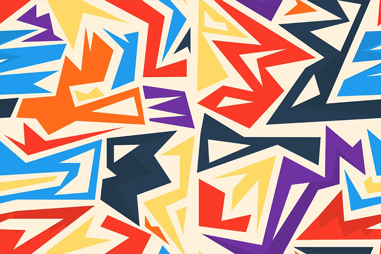 街头艺术创意纹理材质装饰元素Graffiti Maze Seamless Patterns插图(5)