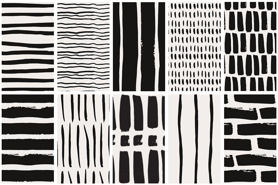 几何线条图案装饰纹理素材Handdrawn Lines Patterns插图(5)