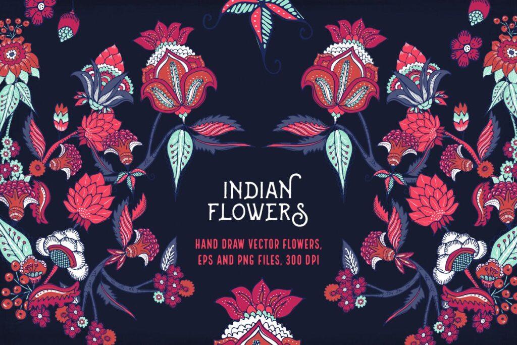 印度风格花卉插花抱枕装饰图案花纹Indian Flowers插图(5)