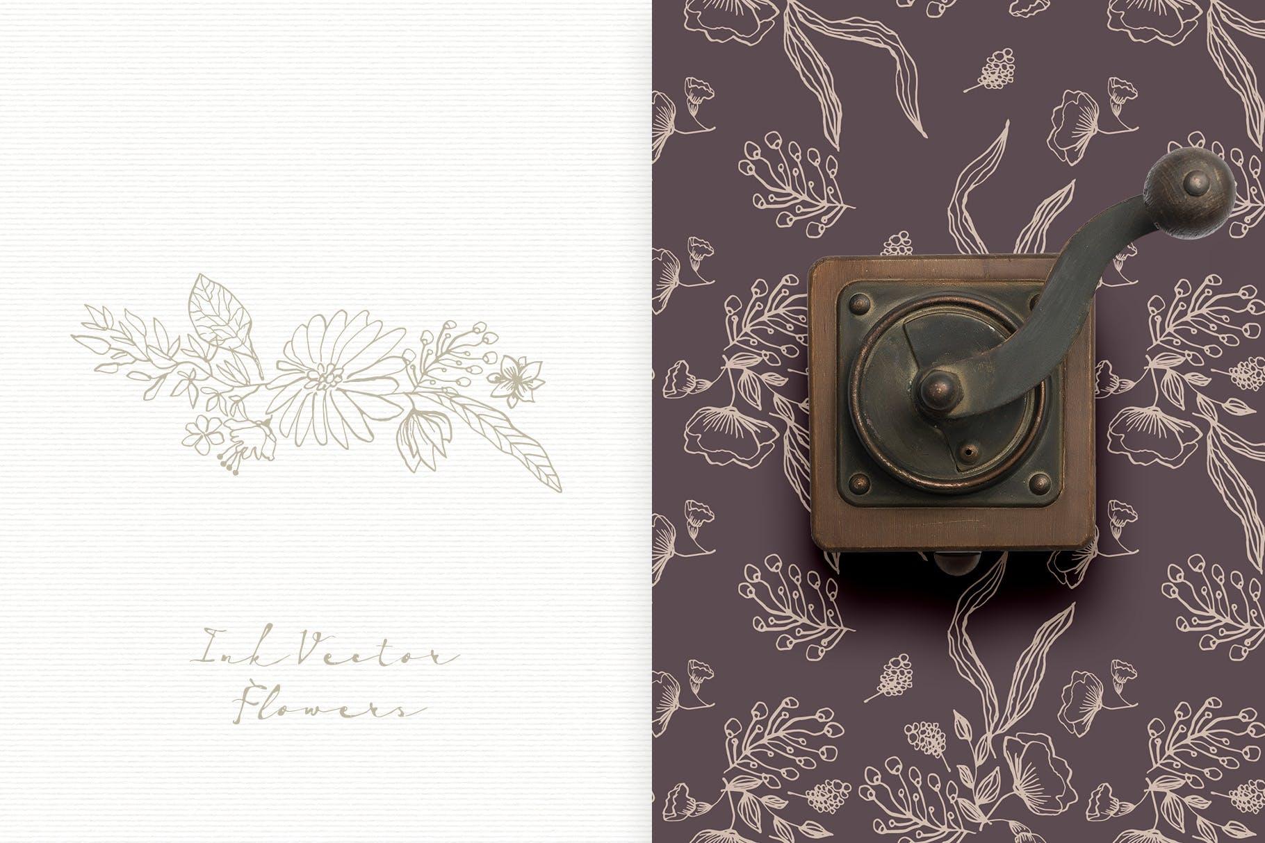 手工研磨制品装饰图案Ink Vector Flowers插图(5)