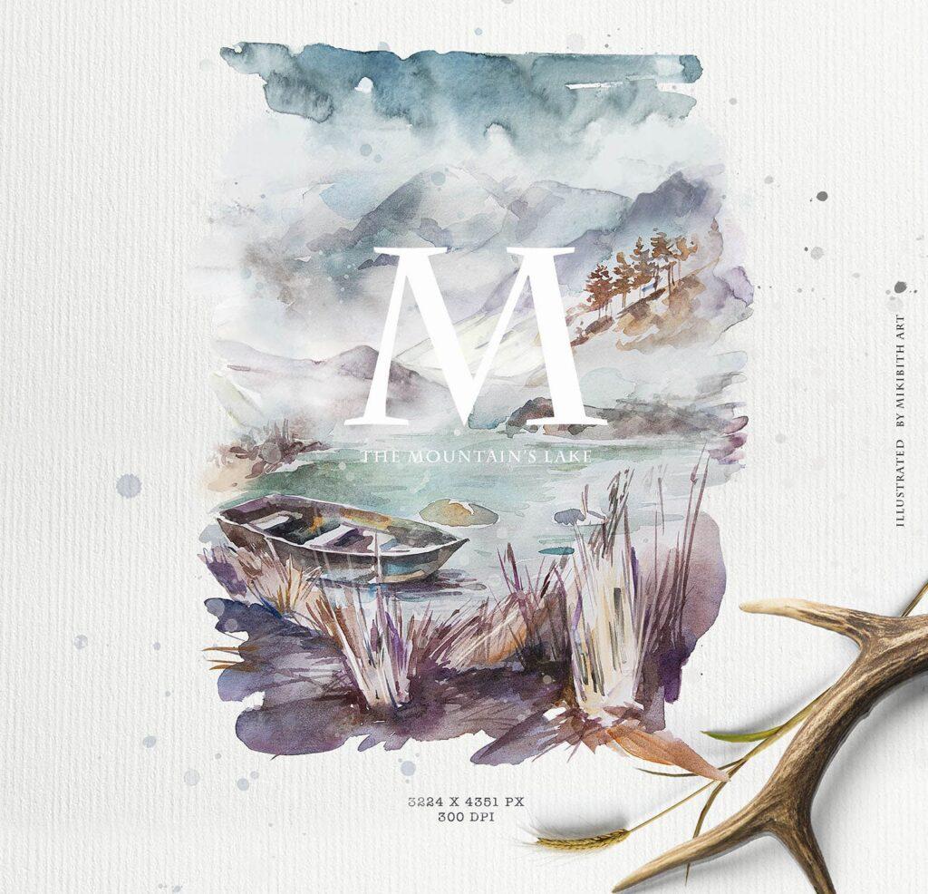 水彩画的风景与山脉/田野/河流Landscapes watercolor插图(5)