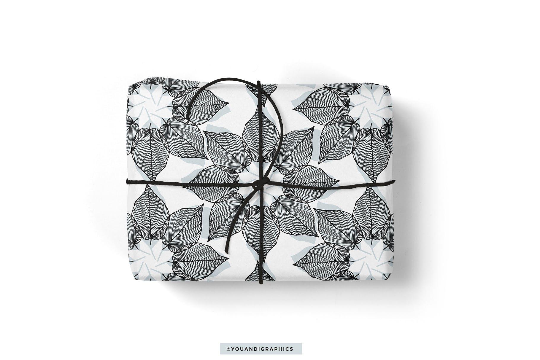 线条艺术花卉矢量图案元素Lineart Floral Patterns Elements插图(5)