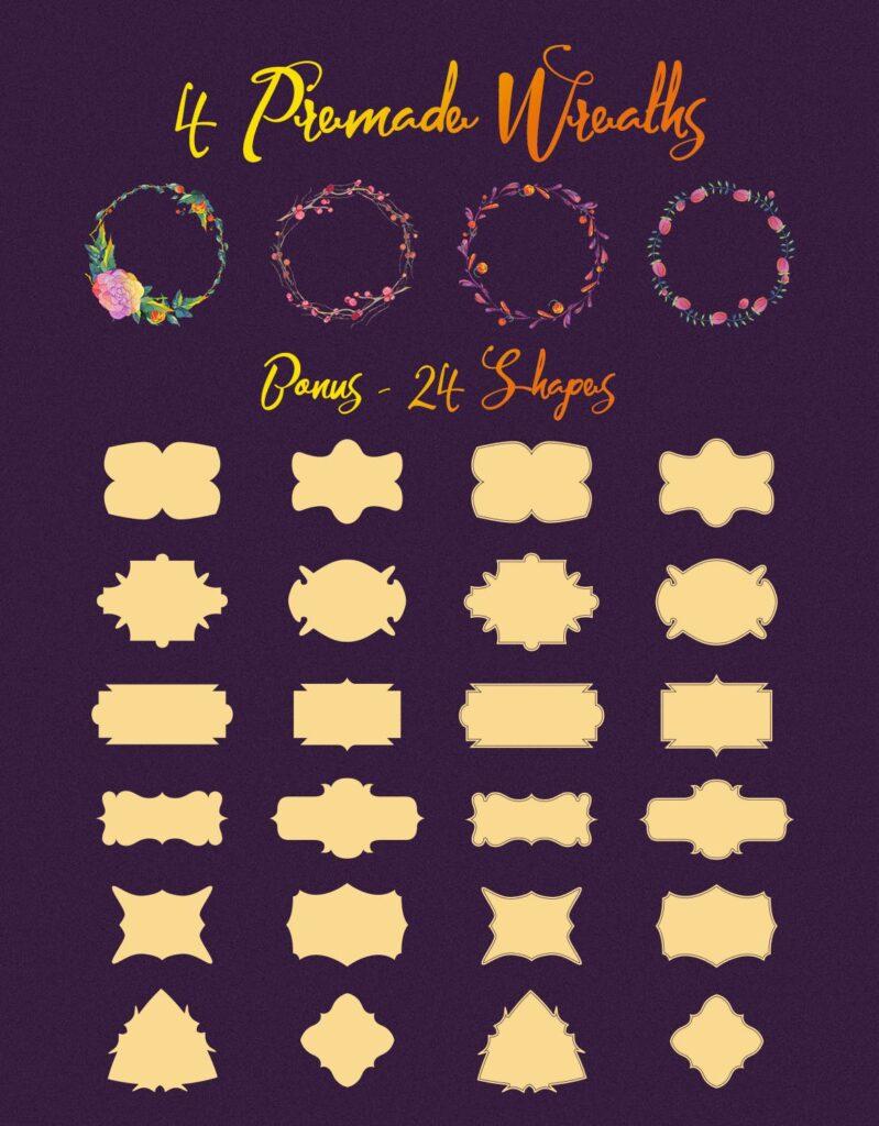 30个风俗化矢量插图的花叶海报传单传单装饰图案Lunar Flower Watercolor Graphic Kit插图(3)