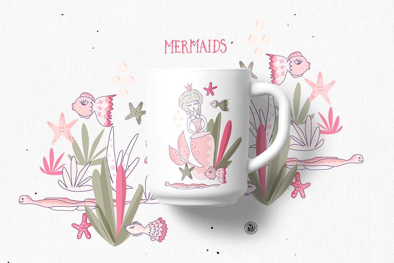 美人鱼粉红色矢量剪贴画和图案Mermaids插图(5)