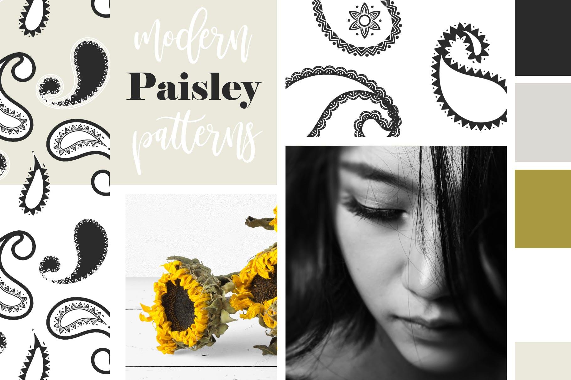 40个现代经典装饰花纹组合矢量图案Modern Paisley Seamless Patterns插图(4)