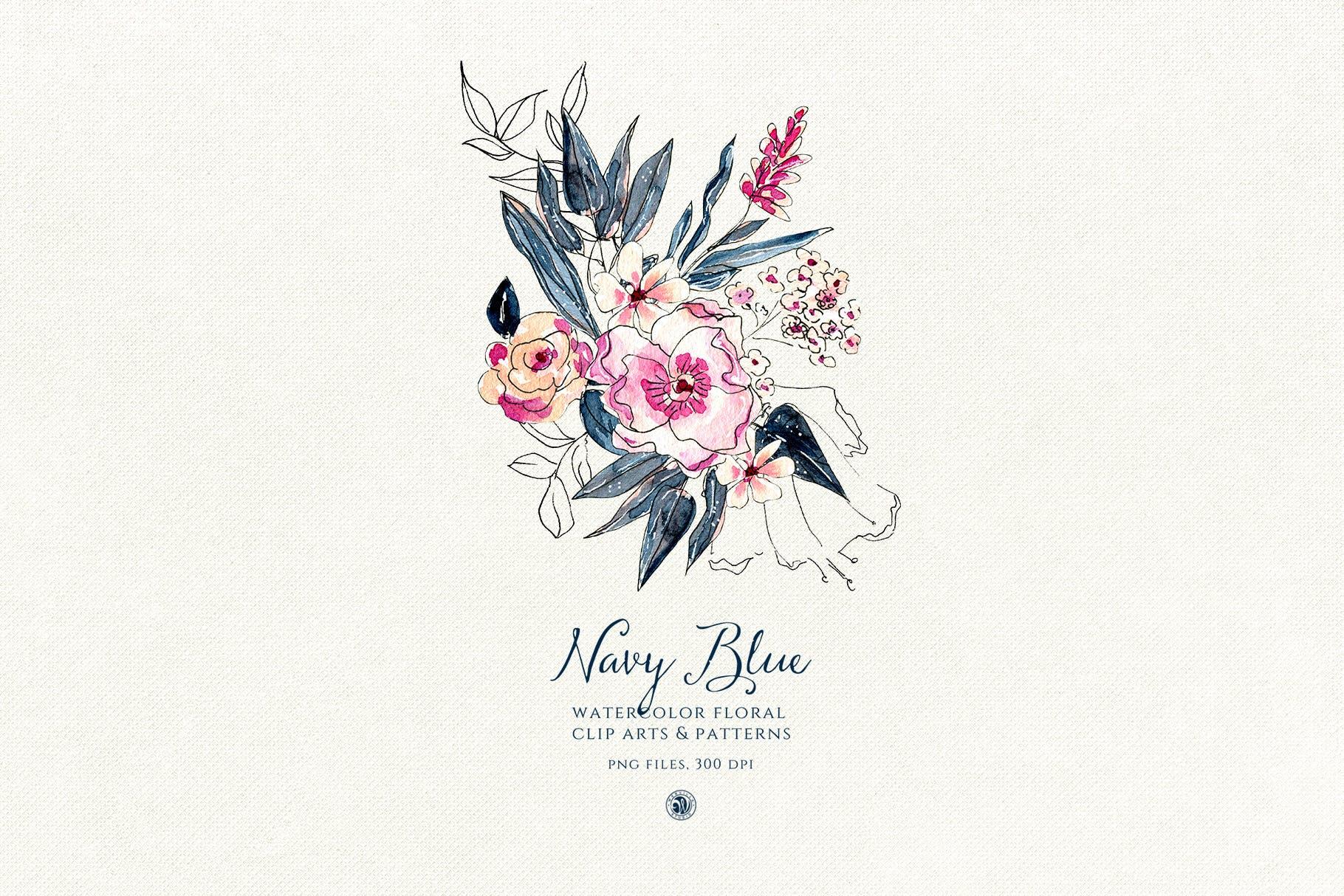 海军蓝花朵手绘水彩花朵和图案装饰元素下载Navy Blue Flowers插图(5)