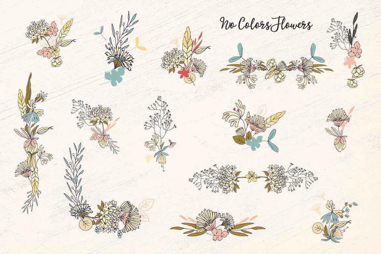 企业品牌纹理印刷装饰图案素材No Colors Flowers插图(5)