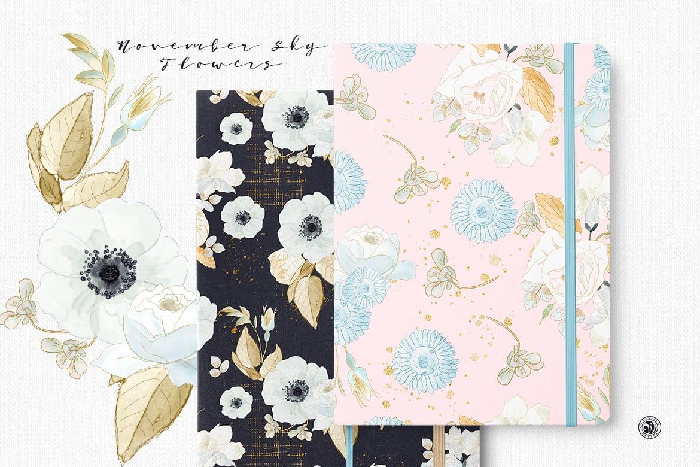 婚礼素雅白色花系装饰图案素材装饰图案下载November Sky Flowers插图(5)