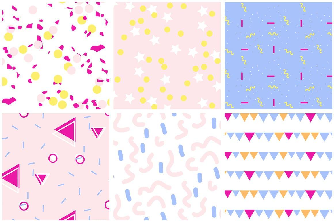婚礼邀请装饰图案几何图形素材Party Patterns set of 12插图(5)