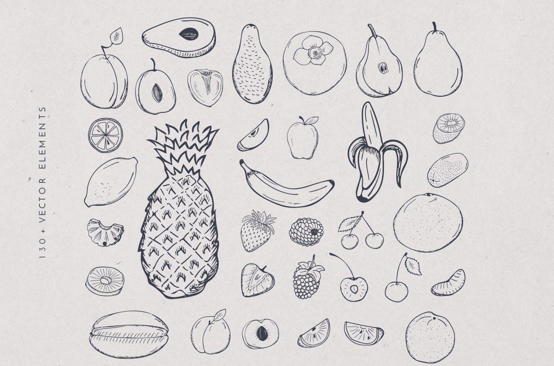 美食餐饮品牌宣传手绘矢量图案素材Ratatouille Sketched插图(5)