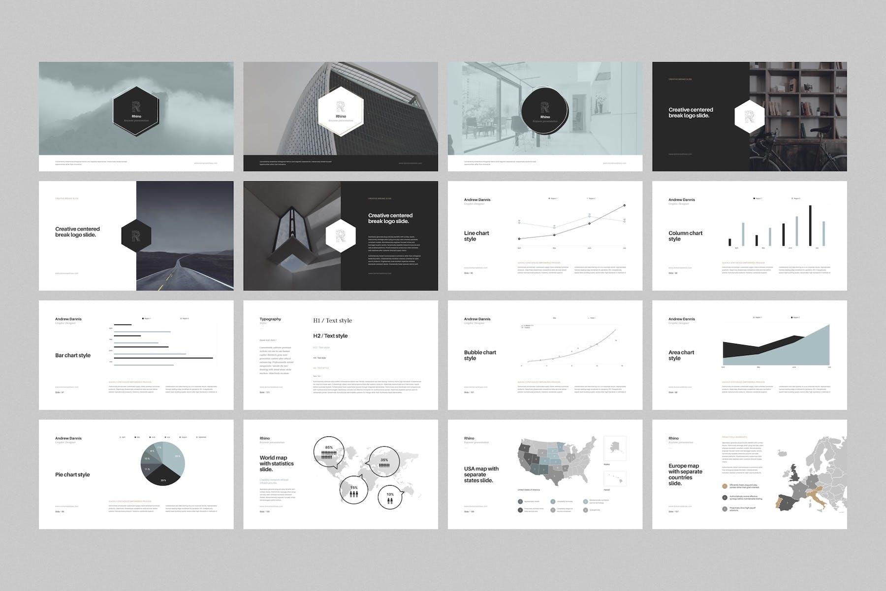 多用途极简风格PPT幻灯片模板下载Rhino Keynote Presentation Template插图(5)