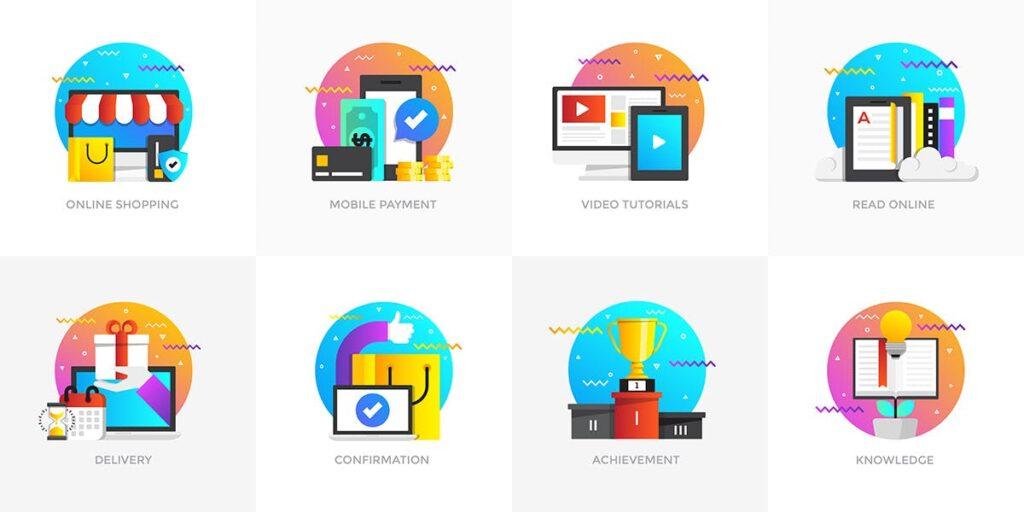 商业活动数据演示主题插画素材Set of Modern Flat Multi Color Conceptual icons插图(5)