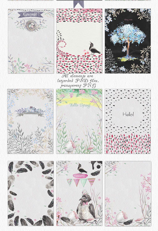 春天与乌鸦艺术创作作品集图案纹理素材下载Spring crows bundle插图(5)